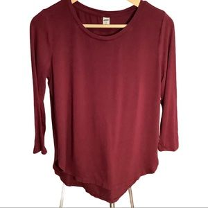Old Navy Luxe Maroon 3/4 Sleeve Top Petite Small